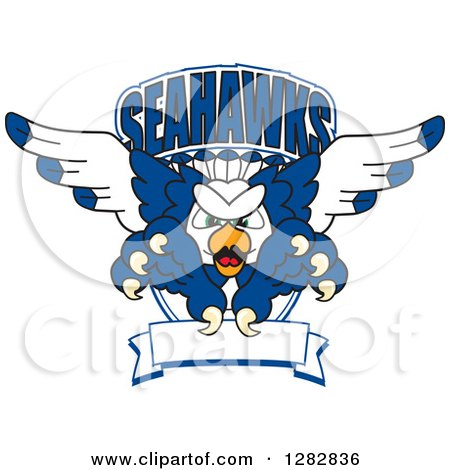Clipart of a Tough Seahawk School Mascot Character Flying with Claws Extended, out of a Shield with Text and a Blank Banner - Royalty Free Vector Illustration by Toons4Biz