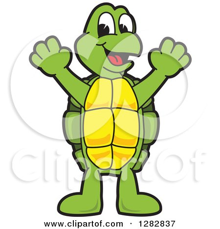 Clipart of a Happy Turtle School Mascot Character Cheering - Royalty Free Vector Illustration by Toons4Biz