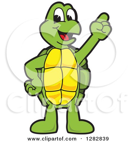 Clipart of a Happy Turtle School Mascot Character with an Idea - Royalty Free Vector Illustration by Toons4Biz