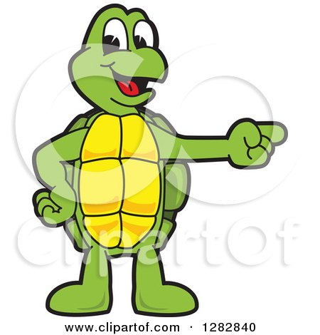 Clipart of a Happy Turtle School Mascot Character Pointing to the Right - Royalty Free Vector Illustration by Toons4Biz