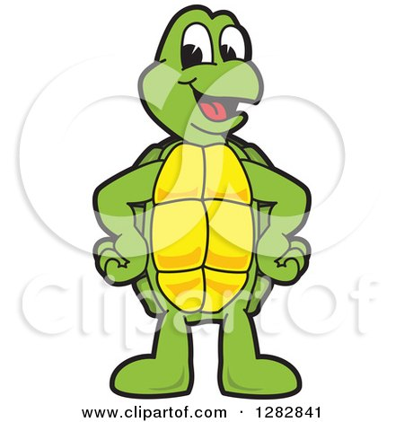 Clipart of a Happy Turtle School Mascot Character - Royalty Free Vector Illustration by Toons4Biz