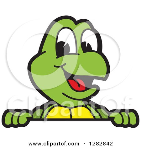 Clipart of a Happy Turtle School Mascot Character Smiling over a Sign - Royalty Free Vector Illustration by Toons4Biz