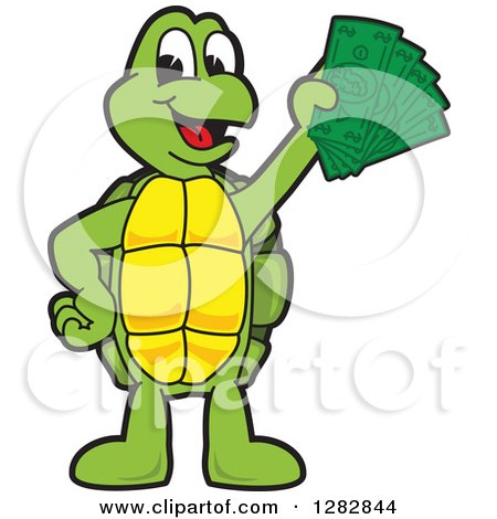 Clipart of a Happy Turtle School Mascot Character Holding Cash Money - Royalty Free Vector Illustration by Toons4Biz