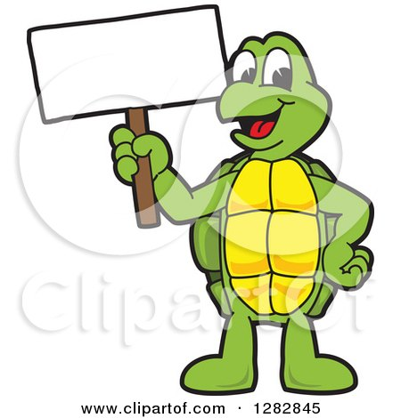 Clipart of a Happy Turtle School Mascot Character Holding up a Blank Sign - Royalty Free Vector Illustration by Toons4Biz