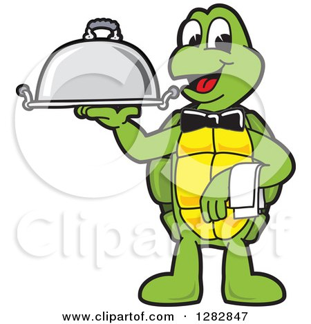 Clipart of a Happy Turtle School Mascot Character Waiter Holding a Cloche Platter - Royalty Free Vector Illustration by Toons4Biz