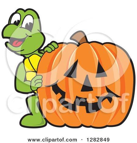 Clipart of a Happy Turtle School Mascot Character Looking Around a Halloween Jackolantern Pumpkin - Royalty Free Vector Illustration by Toons4Biz