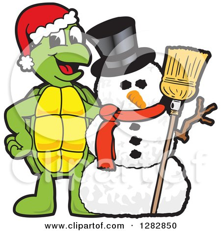 Clipart of a Happy Christmas Turtle School Mascot Character with a Winter Snowman - Royalty Free Vector Illustration by Toons4Biz
