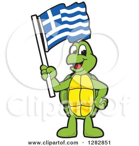 Clipart of a Happy Turtle School Mascot Character Holding a Greek Flag - Royalty Free Vector Illustration by Toons4Biz