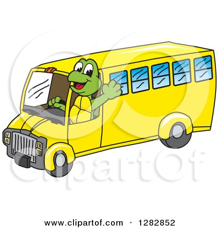 Clipart of a Happy Turtle School Mascot Character Waving and Driving a Bus - Royalty Free Vector Illustration by Toons4Biz