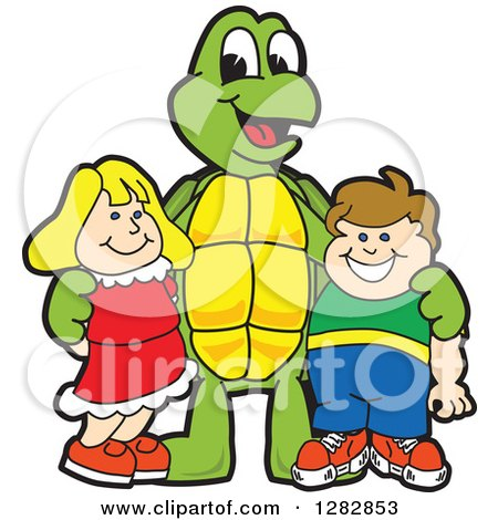 Clipart of a Happy Turtle School Mascot Character Posing with Students - Royalty Free Vector Illustration by Toons4Biz