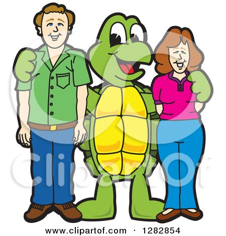Clipart of a Happy Turtle School Mascot Character Posing with Parents - Royalty Free Vector Illustration by Toons4Biz