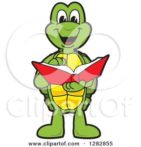 Clipart of a Happy Turtle School Mascot Character Reading a Book - Royalty Free Vector Illustration by Toons4Biz