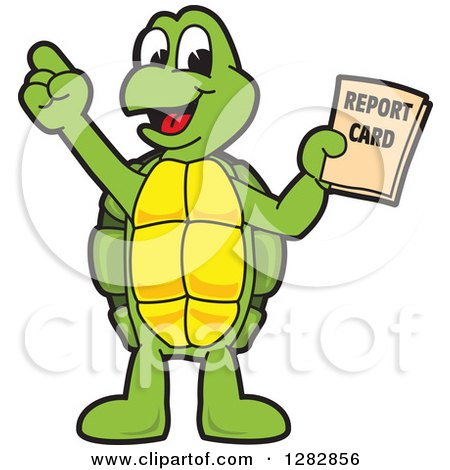 Clipart of a Happy Turtle School Mascot Character Holding a Report Card - Royalty Free Vector Illustration by Toons4Biz