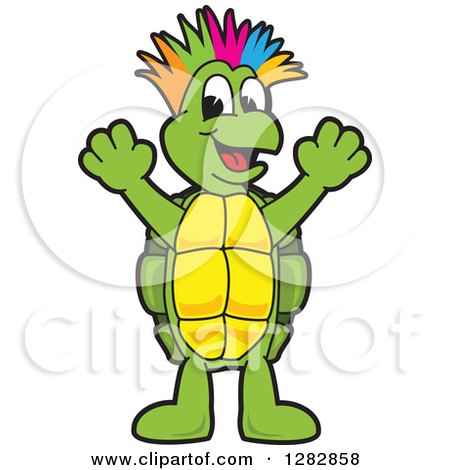 Clipart of a Happy Turtle School Mascot Character with a Colorful Mohawk, Cheering - Royalty Free Vector Illustration by Toons4Biz