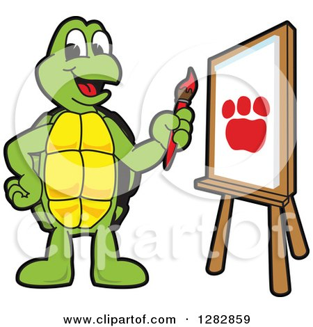 Clipart of a Happy Turtle School Mascot Character Painting a Paw Print on an Art Canvas - Royalty Free Vector Illustration by Toons4Biz