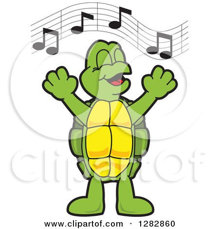 Clipart of a Happy Turtle School Mascot Character Singing in Chorus - Royalty Free Vector Illustration by Toons4Biz