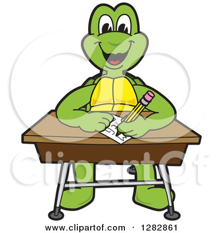 Clipart of a Happy Turtle School Mascot Character Writing at a Desk - Royalty Free Vector Illustration by Toons4Biz