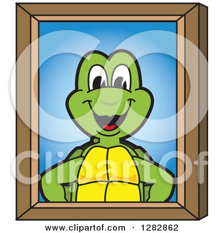 Clipart of a Happy Turtle School Mascot Character Portrait - Royalty Free Vector Illustration by Toons4Biz