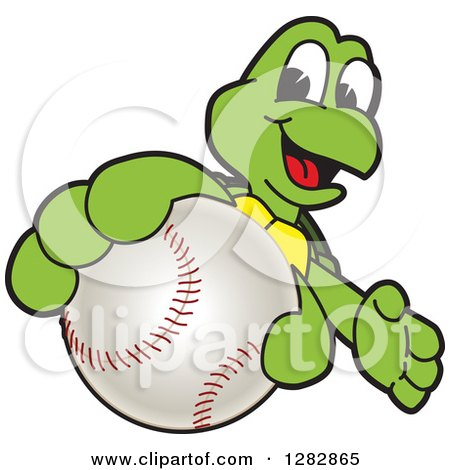 Clipart of a Happy Turtle School Sports Mascot Character Catching or Holding out a Baseball - Royalty Free Vector Illustration by Toons4Biz