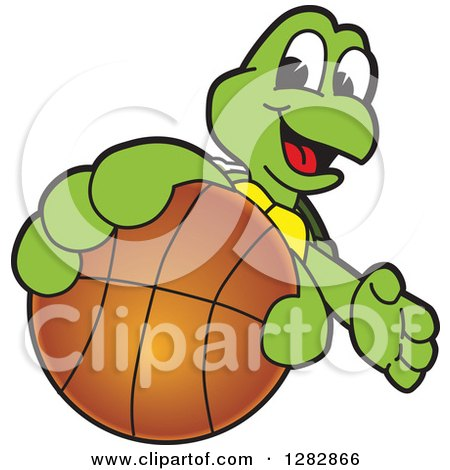 Clipart of a Happy Turtle School Sports Mascot Character Catching or Holding out a Basketball - Royalty Free Vector Illustration by Toons4Biz