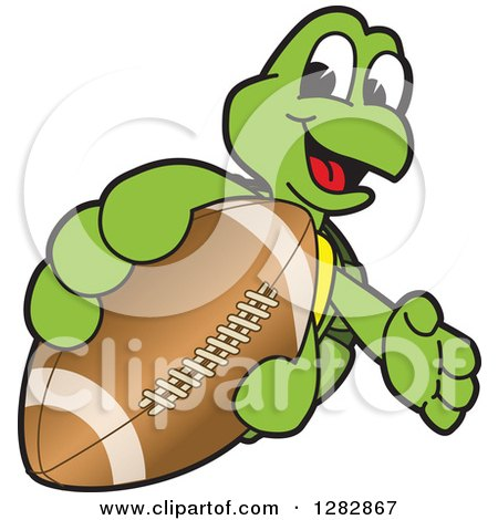 Clipart of a Happy Turtle School Sports Mascot Character Catching or Holding out an American Football - Royalty Free Vector Illustration by Toons4Biz