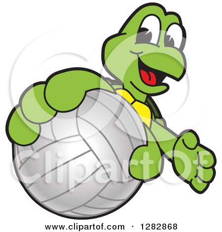 Clipart of a Happy Turtle School Sports Mascot Character Catching or Holding out a Volleyball - Royalty Free Vector Illustration by Toons4Biz