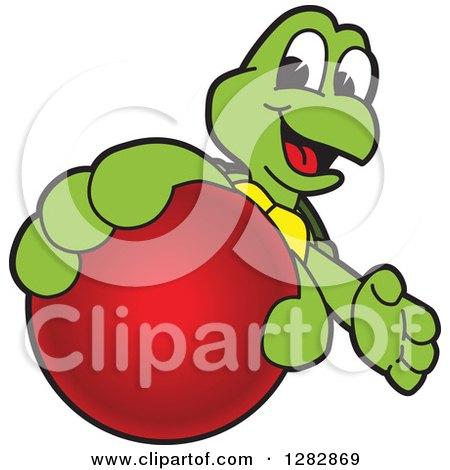 Clipart of a Happy Turtle School Sports Mascot Character Catching or Holding out a Red Ball - Royalty Free Vector Illustration by Toons4Biz