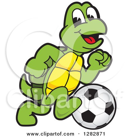 Clipart of a Happy Turtle School Sports Mascot Character Playing Soccer - Royalty Free Vector Illustration by Toons4Biz