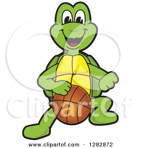 Clipart of a Happy Turtle School Sports Mascot Character Dribbling a Basketball - Royalty Free Vector Illustration by Toons4Biz