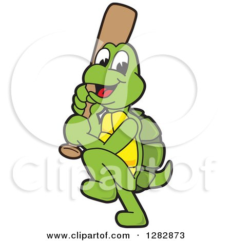 Clipart of a Happy Baseball Player Turtle School Sports Mascot Character Batting - Royalty Free Vector Illustration by Toons4Biz