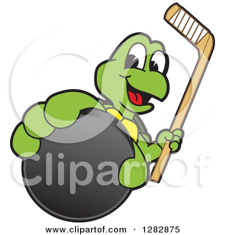 Clipart of a Happy Turtle School Sports Mascot Character Holding out an Ice Hockey Puck and Stick - Royalty Free Vector Illustration by Toons4Biz