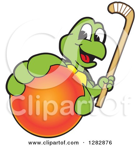 Clipart of a Happy Turtle School Sports Mascot Character Holding out a Field Hockey Ball and Stick - Royalty Free Vector Illustration by Toons4Biz