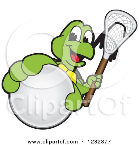 Clipart of a Happy Turtle School Sports Mascot Character Holding out a Lacrosse Ball and Stick - Royalty Free Vector Illustration by Toons4Biz