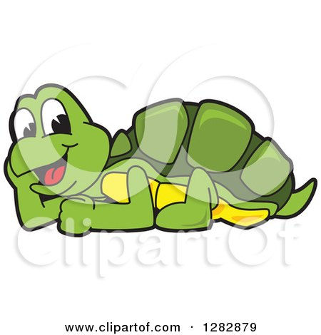 Clipart of a Happy Turtle School Mascot Character Resting - Royalty Free Vector Illustration by Toons4Biz