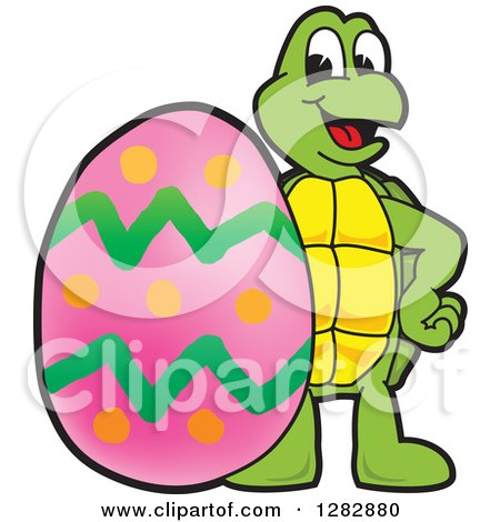 Clipart of a Happy Turtle School Mascot Character with a Giant Easter Egg - Royalty Free Vector Illustration by Toons4Biz