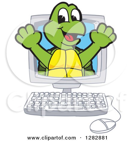 Clipart of a Happy Turtle School Mascot Character Emerging from a Desktop Computer Screen - Royalty Free Vector Illustration by Toons4Biz