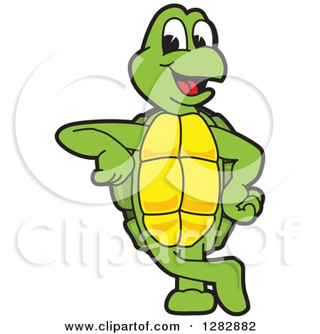 Clipart of a Happy Turtle School Mascot Character Leaning - Royalty Free Vector Illustration by Toons4Biz