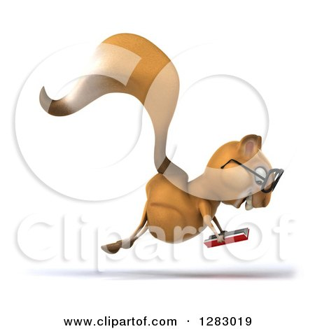Clipart of a 3d Bespectacled Squirrel Character Facing Right Hopping and Reading a Book - Royalty Free Illustration by Julos