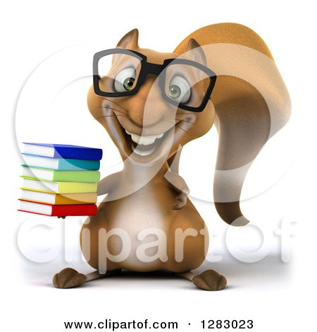 Clipart of a 3d Bespectacled Squirrel Character Holding a Stack of Books - Royalty Free Illustration by Julos