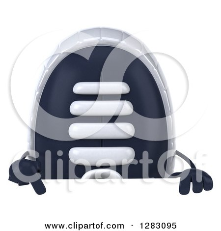 Clipart of a 3d Sneaker Shoe Character Pointing down over a Sign - Royalty Free Illustration by Julos