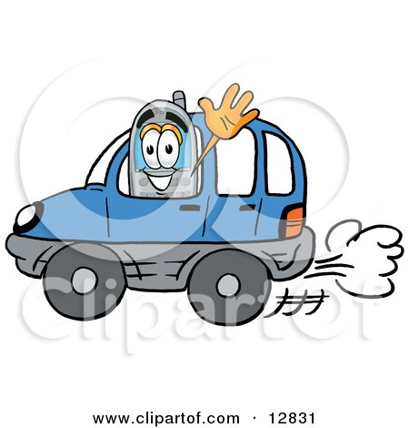 telephone mascot cartoon character driving a blue car and waving.