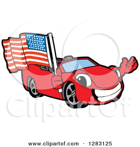 Clipart of a Happy Red Convertible Car Mascot Character Waving and Holding an American Flag - Royalty Free Vector Illustration by Toons4Biz