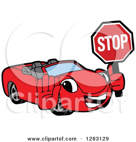 Clipart Of A Happy Red Convertible Car Mascot Character