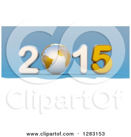 Clipart of a 3d White and Gold Year 2015 with an Earth Globe As the Zero, on Blue and White - Royalty Free Illustration by chrisroll