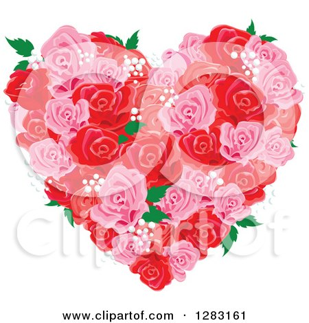 Clipart of a Pink and Red Floral Rose and Babys Breath Heart - Royalty Free Vector Illustration by Pushkin