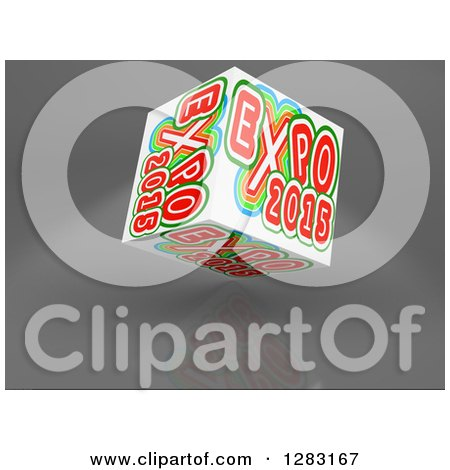 Clipart of a 3d Worlds Fair Expo 2015 Cube on a Reflective Gray Background - Royalty Free Illustration by MacX