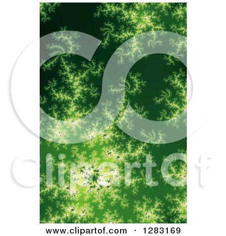 Clipart of a Green Fractal Spiral Background - Royalty Free Illustration by oboy
