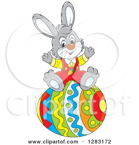 Clipart of a Happy Gray Easter Bunny Rabbit Cheering on a Giant Egg - Royalty Free Vector Illustration by Alex Bannykh