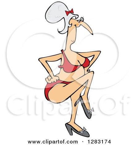 Clipart of a Senior Caucasian Woman Dancing in a Bikini - Royalty Free Vector Illustration by djart