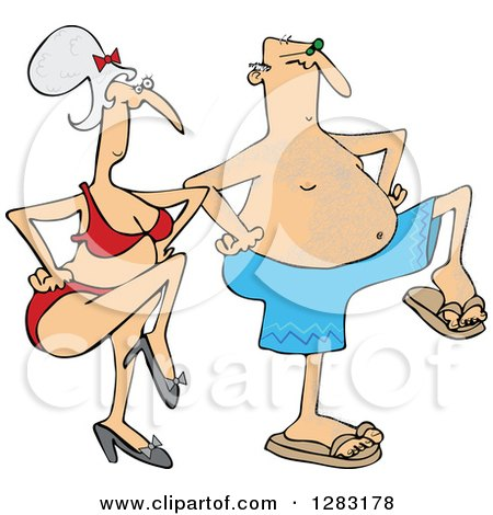 Clipart of a Senior Caucasian Couple Dancing in Swimwear - Royalty Free Vector Illustration by djart